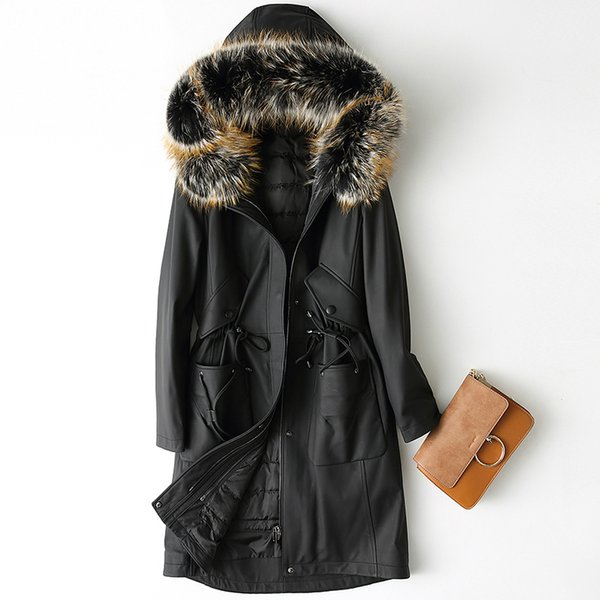 High Quality Genuine Leather Jacket Women Long Real Sheepskin Coat Natural Raccoon Fur Collar Hooded Winter Down Jackets Z498