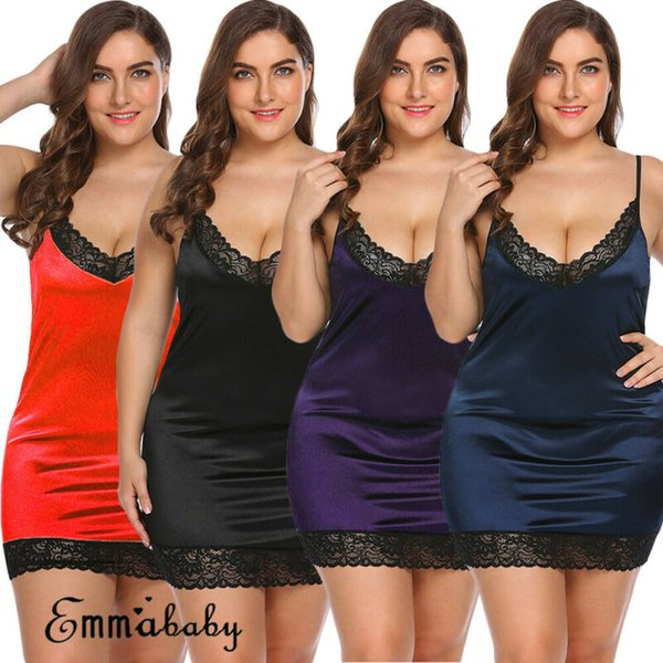US Plus Size Lingerie Mulheres Silk Lace Vestido Babydoll Nightdress Sleepwears