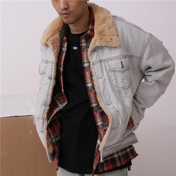 HIGH STREET Fear of god oversize Mens Jackets Winter Warm Demin Jacket wool liner Vintage Jeans Coat for Men Outwear Clothing