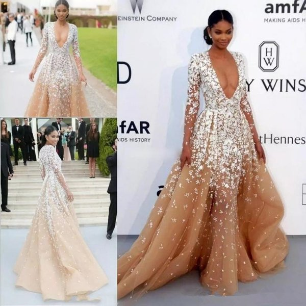Designer Zuhair Murad Sexy Deep V Neck Evening Dresses With Long Sleeve Champagne Tull Lace Applique Sweep Train Formal Celebrity Dress 2019