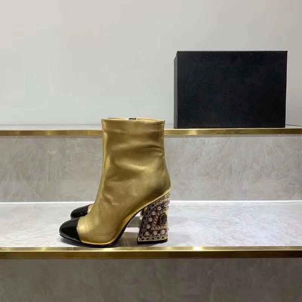 Bottes nues pour femmes de marque 2019, bottes de qualité supérieure, bottes de marche à la mode, nouvelle botte de luxe, botte d'hiver pour femme, taille: 35-41
