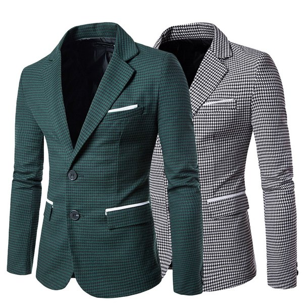 2019 new Casual Plaid Print Men suit Fashion Long Sleeve Business Blazer Jacket 0#