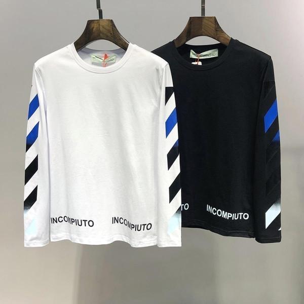 Langärmliges T-Shirt Herren neue High-End-Baumwolle Trend Pfeildruck T-Shirt Mode wild lässig warm Herren Langärmliges T-Shirt