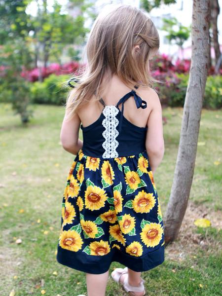 3 color new arrival girl summer cute Flower printting shoulder strap dress Sunflower sling Dress hot selling