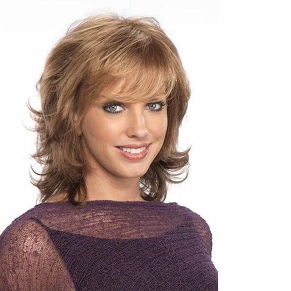 16inches Synthetic Straight Wigs with Bangs Blonde Synthetic Hair Wigs For Women Wavy style Natural Fashion Full Wig with Free Wig Cap