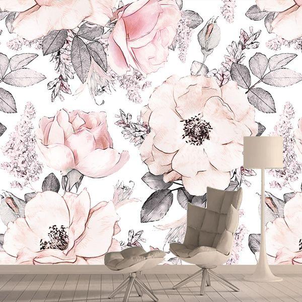 Fleurs roses Wall Paper Rose Papiers Home Decor Fonds d'écran 3D Living Room Papier peint Mural Murs Autocollantes murales Rolls