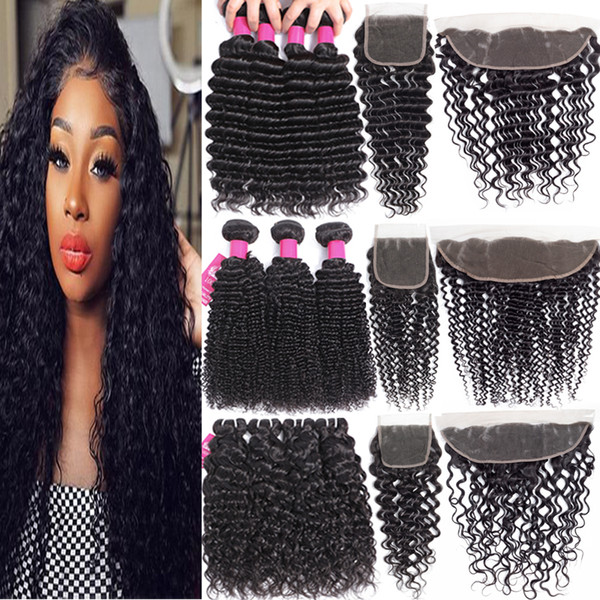 9A Brazilian Human Hair Bundles With Cosure 4X4 Lace Closure Or 13X4 Ear To Ear Lace Frontal Closure Or 360 Full Lace Closure Virgin Hair