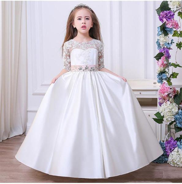 2020 vestidos de niña de las flores una línea Jewel Applique vestidos del desfile de chicas de encaje con media manga marco moldeado