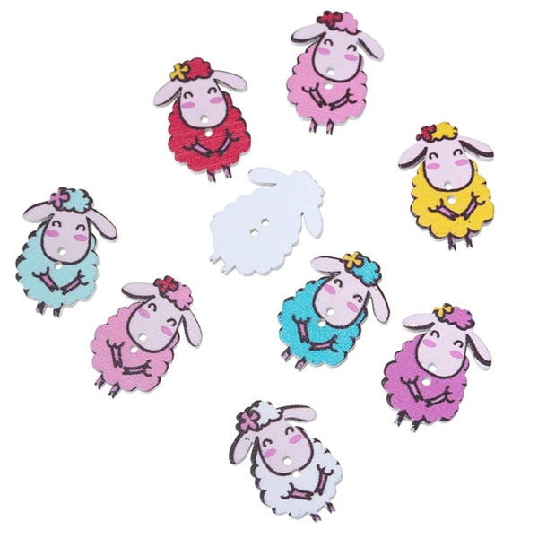 2019 Doreenbeads Wood Sewing Button Scrapbooking Sheep Painting