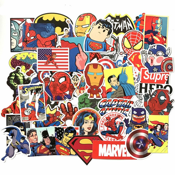 50Pcs/Lot Marvel Anime Classic Stickers Toy For Laptop Skateboard Luggage Decal Decor Funny Iron Man Spiderman Stickers For Kids 50 set JYBA