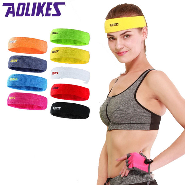 AOLIKES 1PCS Cotton Sports Basketball Sweatband For Women Yoga Hair Band Head Sweat Band Fitness Gym Running Headband sweetband #71929