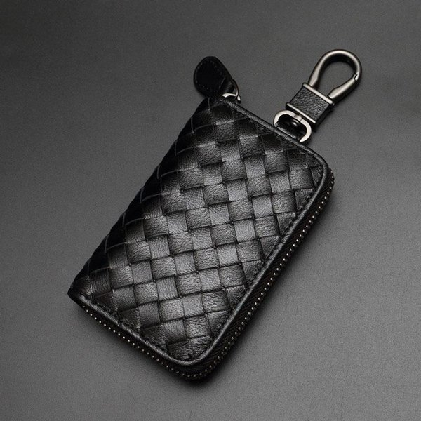 Mode Weben Leder Schlüsselmappen Luxus Design Legierung Schlüsselanhänger Unisex Schlüsselhalter Heiße Verkäufe Männer Frauen Schwarz Leder Schlüsselanhänger Liebhaber Geschenk