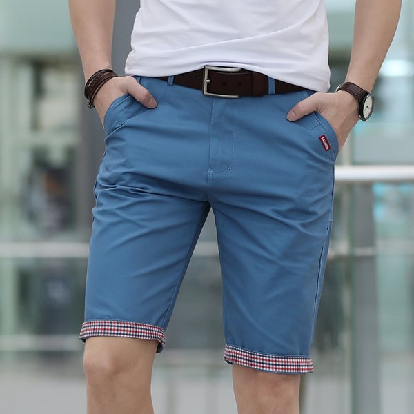 New Summer Casual Shorts Men Plaid Ruched Hem Short Pants Male Fashion Shorts Mans Plus Size 28-40 Free Shipping Outwear