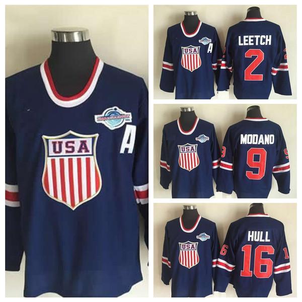2004 World Cup USA Team Hockey Jerseys #16 Brett Hull Jersey #2 Brian Leetch Jersey #9 Mike Modano Blue High Quality Stitched Shirts