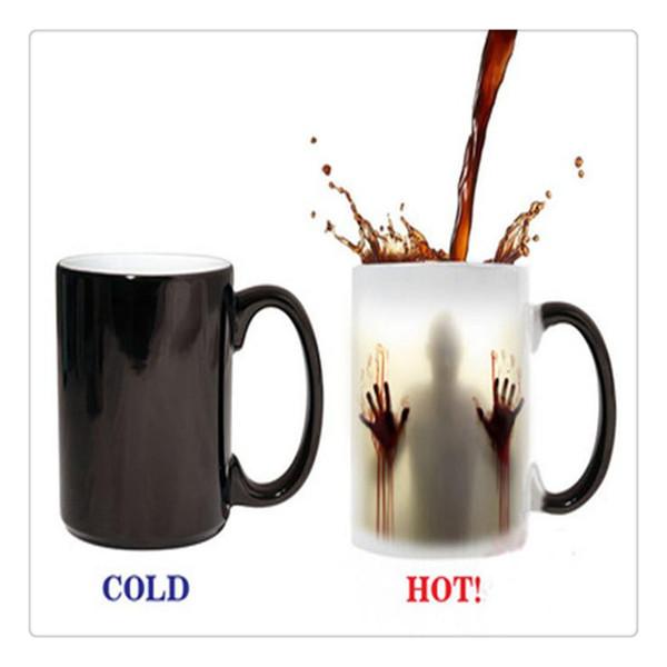 The Walking Dead Zombies Cerámica Sensible al calor Cambio de color Café Taza de té Frío Negro Caliente Blanco Al por mayor