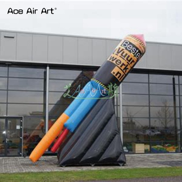 Customized promotion model inflatable fireworks,standing rocket balloon,advertising fireworks for US