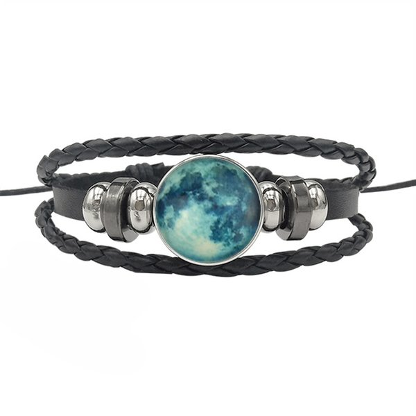 Personalized Luminous Planet Glass Dome Bracelet Glow In The Dark Multi-layer Leather Bracelets For Men Women Fashion Jewelry