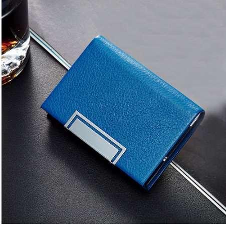 Aelicy Leather Business Small Mens Wallet Titular de la tarjeta Monedero ID Tarjeta de crédito Monedero Caja de tarjeta de acero inoxidable para hombres Mujeres