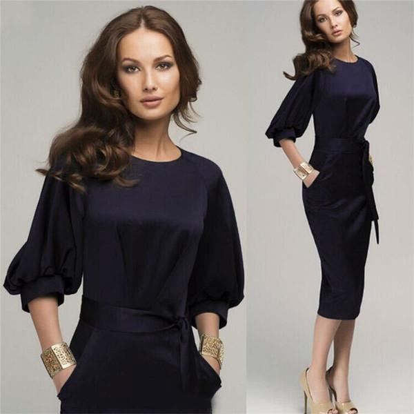 Outono mulheres casuais vestido elegante vestido de chiffon vestido de escritório das mulheres