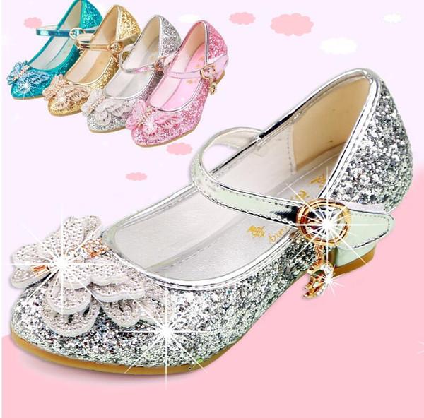Princesa Crianças Sapatos De Couro Para Meninas Ocasionais Glitter Crianças Sapatos De Salto Alto Meninas Sapatos Borboleta Nó Azul Rosa Prata Glod