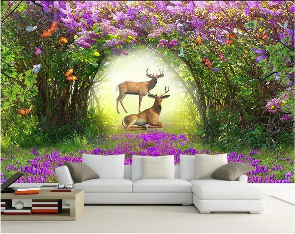 WDBH custom photo 3d wallpaper Beautiful flower forest elk background room home decor 3d wall murals wallpaper for walls 3 d living ro