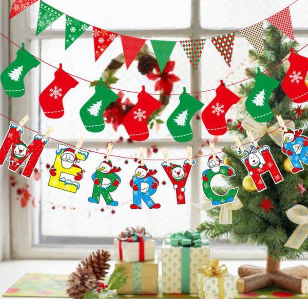 Christmas Flags Party Supplies Colorful Banner Christmas Decorations Home Decor Flags Santa Claus Snow Man Xmas Flag RRA1729