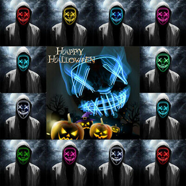 LED Mask-Halloween Scary Mask EL Wire Cosplay Mask//3 Modes Glowing Creepy Mask for Halloween Party