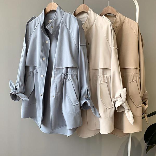 Frühling Windjacke Frauen beiläufige dünne Trenchcoat Femme Abrigo Mujer Frauen Graben Einreiher Streetwear Kurzmantel Q1196