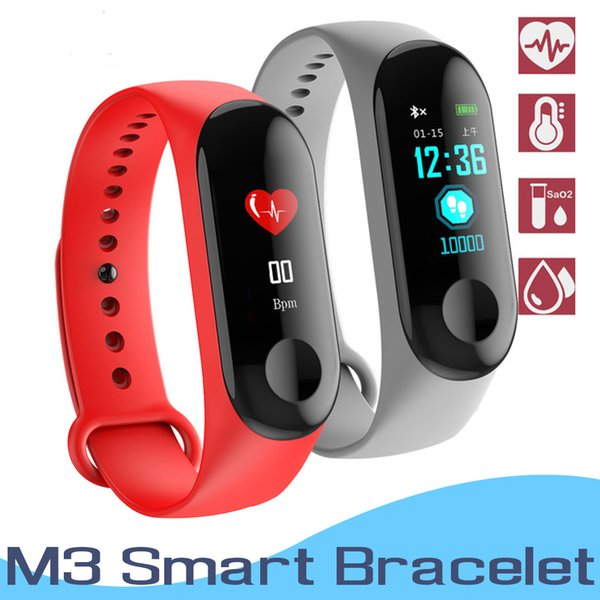M3 Smart Bracelet Heart Rate Blood Pressure Monitor Pulse Wristband Fitness OLED Tracker Watch For iPhone Xiaomi Huawei PK Mi Band 3