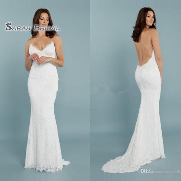 best selling 2019 Simple Long White Spaghetti Mermaid Bride Dress Sexy Backless Beach Evening Wear Formal Gown High-end Wedding Boutique