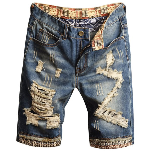 Mens Ripped Short Jeans Clothing Bermuda Cotton Shorts Breathable Denim Shorts Male New Fashion Size 28-40
