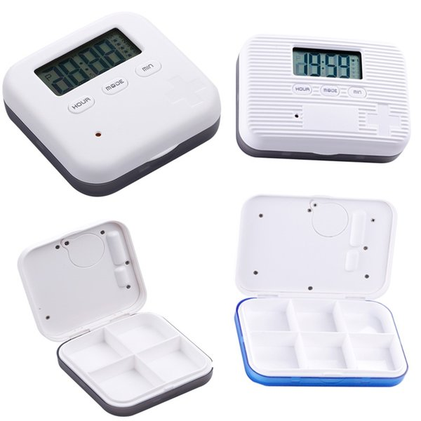 Plastic Pill Case Box For 4 And 6 Slots Cross Pill Organizer Container Can SET Reminder Time Square Tablet Case Storage Hold Gifts FA2755