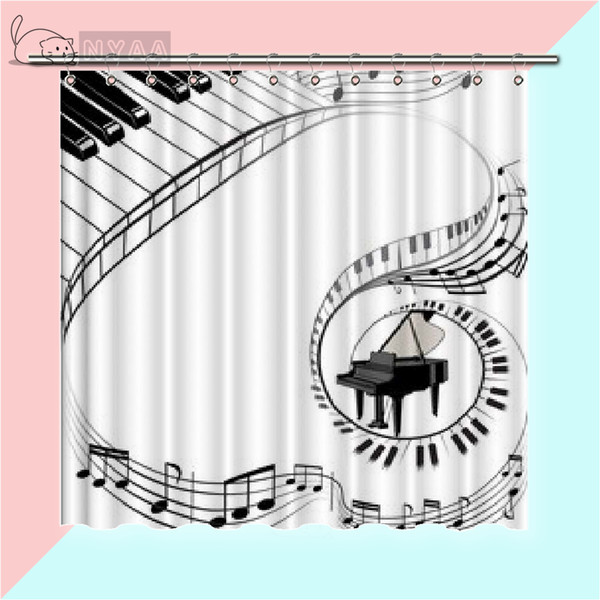 Vixm Piano Musical Instrument Dance Room Shower Curtains Simple Modern Black And White Waterproof Polyester Fabric Curtains For Home Decor