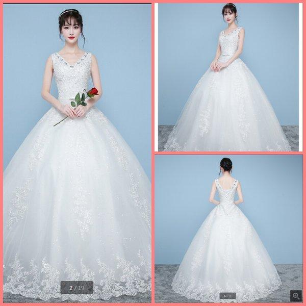 2019 image réelle princesse robe de bal Puffy longue robes de mariée décolleté v appliques de dentelle paillettes perles avec ouvrants robes de mariée de vente chaude