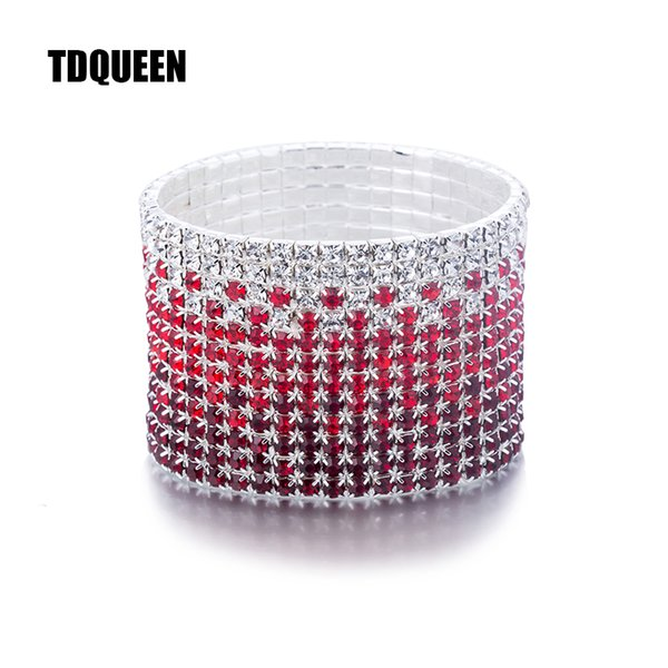 12 Satırlar Kırmızı ve Temizle Kristal Kombinasyonu Düğün Bilezik Gümüş Kaplama Gelin Takı Rhinestone Streç Bilezik Bilezik