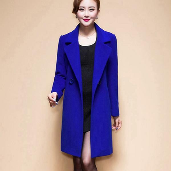 Herbst Winter Wollmantel Frauen Elegante Gelb Rot Schwarz Blau Lange Dünne Jacke Anzug Outwear Abrigos Mujer Invierno Elegante 4XL T190903