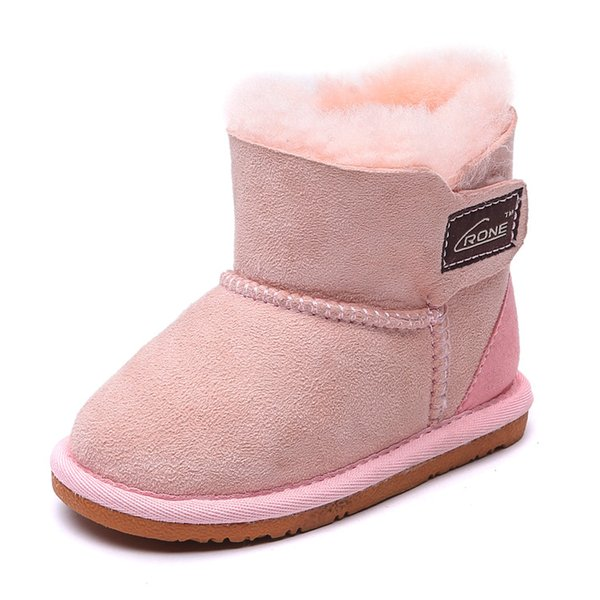 brand winter warm one fur skin kids shoes design pink snow boots for girls baby boys winter shoes