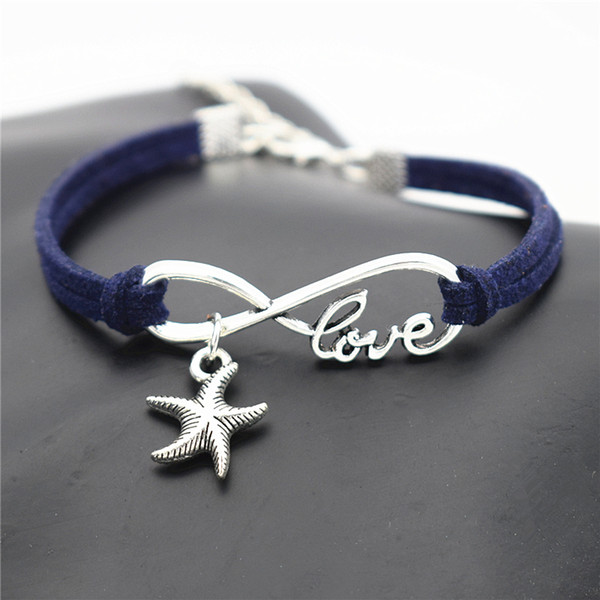 Silver Alloy Infinity Love Sea Star Starfish Charm Bracelets & Bangles Fashion Dark Navy Leather Suede Rope Cuff Gifts Jewelry For Women Men