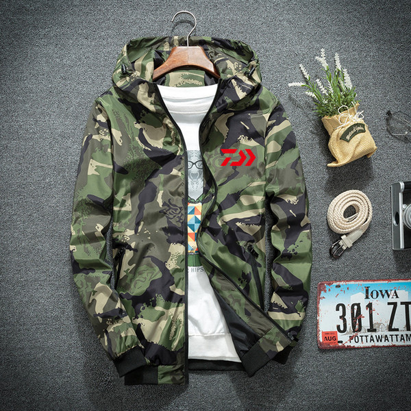 New Plus Size M-4xl Big  Fishing Clothing Quickdry Sunscreen Breathable Hooded Camouflage Shirt