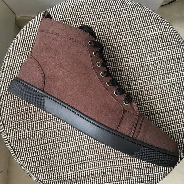 Nuevos hombres de calidad superior de las mujeres inferiores rojos zapatos casuales diseñador de la marca de cuero de gamuza negro suela alta superior superior de lujo zapatillas de deporte más tamaño 35-47