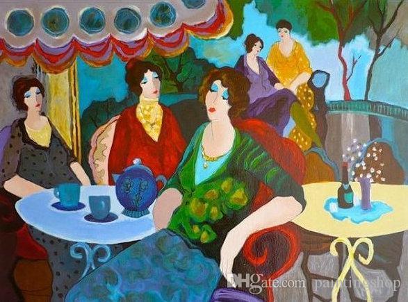 Itzchak Tarkay Nouvelles Figuration Home Artworks Modern Senhora Portrait Handmade Oil Painting on Canvas Concave and Convex Texture IT138