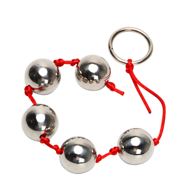 Cinco bolas anales de metal Butt Plug vaginal Juguetes sexuales de acero inoxidable para mujer Anillo erótico Hand Bead Anal Bead Productos para adultos