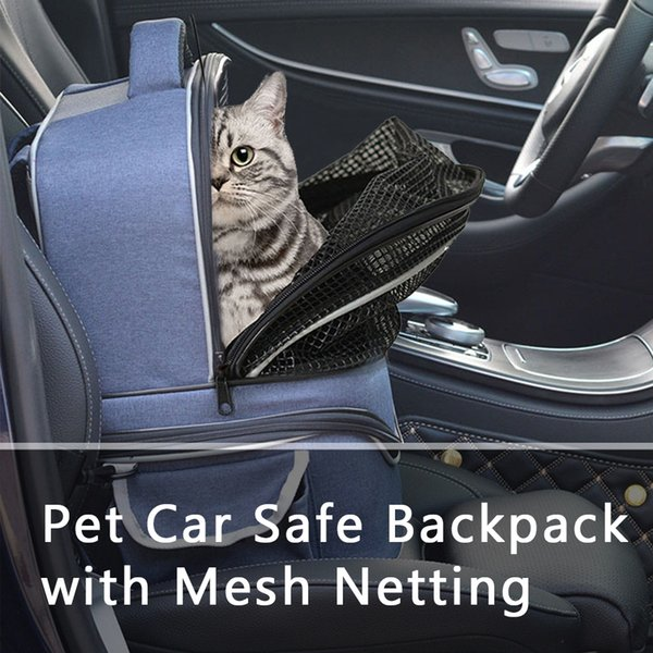 Pet Carrier Backpack Cat Carrier with Mesh Netting Pet Travel Breathable Bag Seat Safe for Dogs Cats