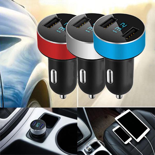 Cargador LED para automóvil 5V / 3.1A Carga rápida Puerto USB dual Adaptador para encendedor de cigarrillos Voltaje DHL Envío gratis