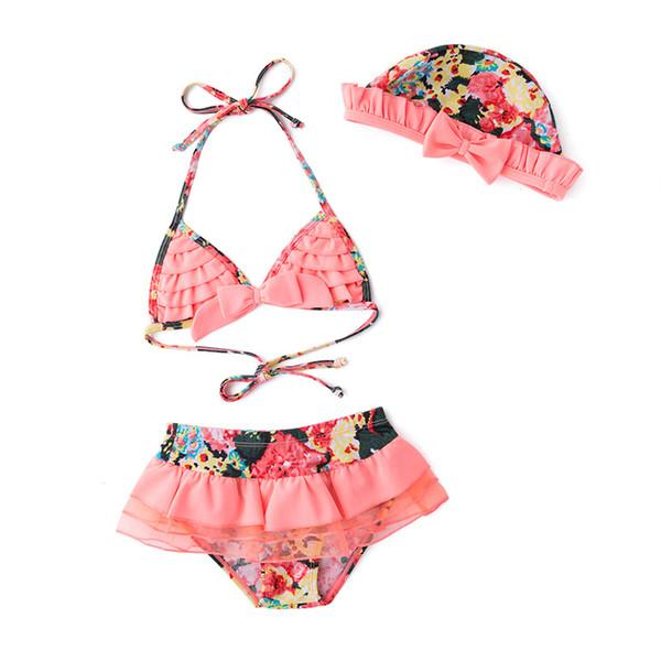 Nuovo! Costumi da bagno per bambini estate rosa floreale costumi da bagno + cappello 3 pezzi set neonato bambino bambini Floral Baby Bikini costume da bagno