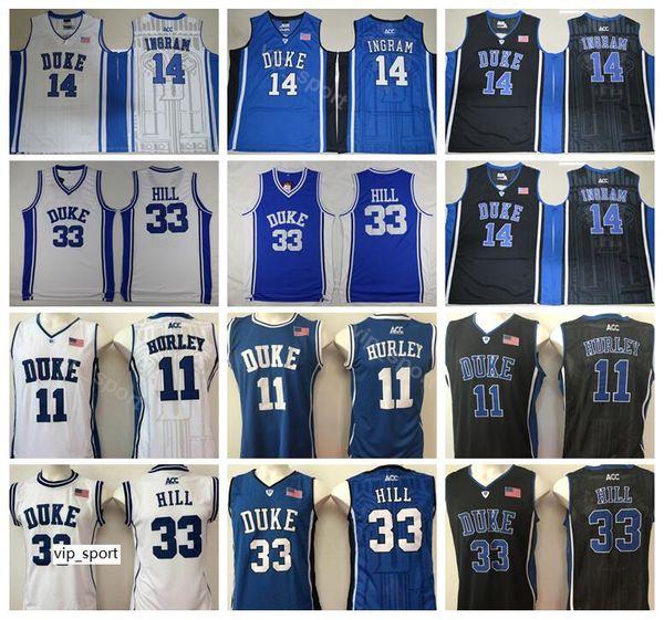 Dük Mavi Şeytan Koleji Bobby Hurley Forması 11 Erkekler Basketbol Grant Hill 33 Brandon Ingram Jersey 14 Siyah Deplasman Beyaz Takım Renk Mavi