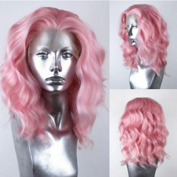 Encantador color rosado de 14 pulgadas Corto Ola Natural Parte del cabello Parte Cosplay Pelucas Fibra resistente al calor Cordón sintético Frente Bob Pelucas rizadas para mujeres