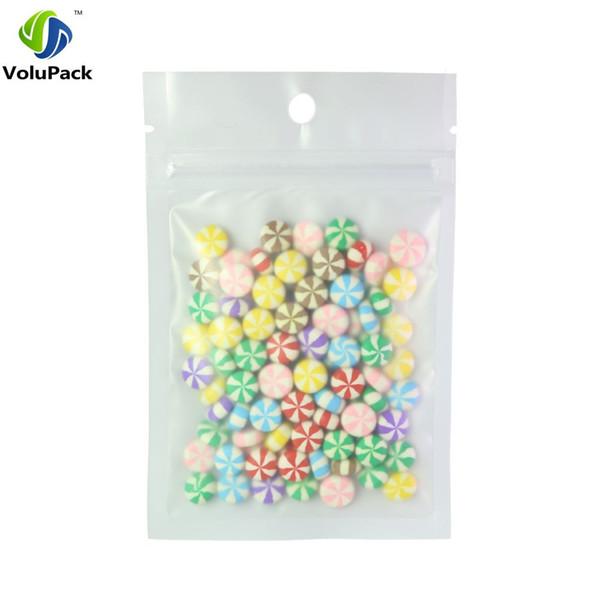 Piatte Zip 8.5x13cm / 3.25x5in 100pcs strappo Notch Matte chiaro / bianco / bianco Imballaggio sacchetti di plastica richiudibili con Borsa Fori Hang