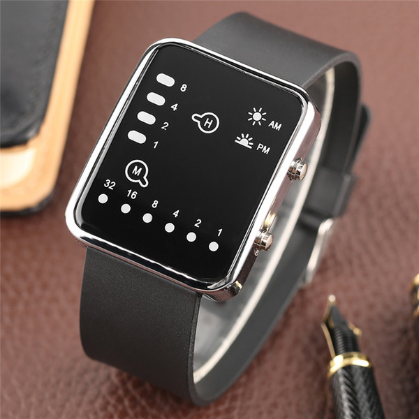 lock fashion Cool LED Binary Watch Blue Backlight Fashion Men Women Geek Digital Wristwatch Soft Black Silicone Band Sport Watches Army C...