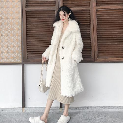 Novo Estilo Trench Coat Lambswool Para As Mulheres de Algodão-acolchoado Blusão das Mulheres À Moda Casaco Feminino Encaracolado Longo Vento Casaco